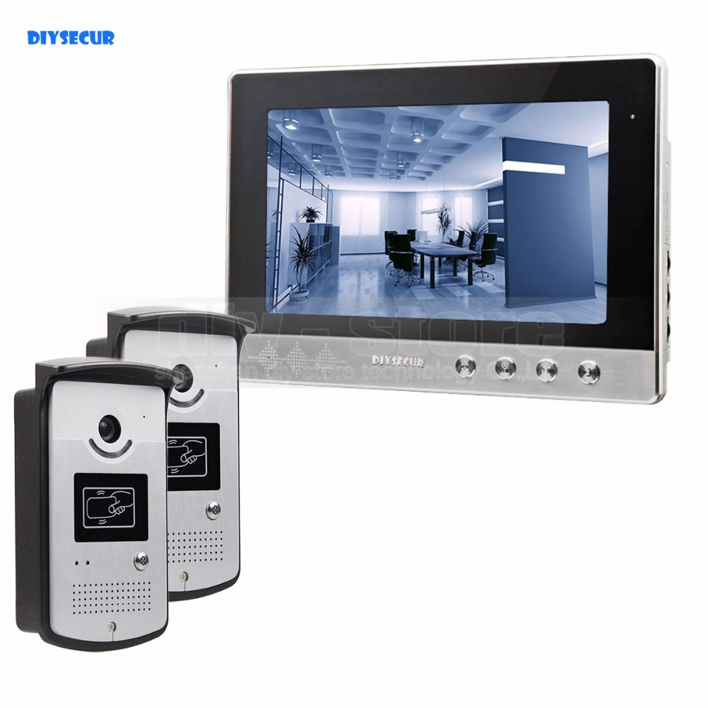 DIYSECUR 10 inch Wired Video Door Phone Video Intercom Doorbell Home Security System RFID Camera LED Color Night Vision 2V1 jeruan home wired cheap 4 3 inch lcd color video door phone doorbell intercom system ir night vision camera free shipping