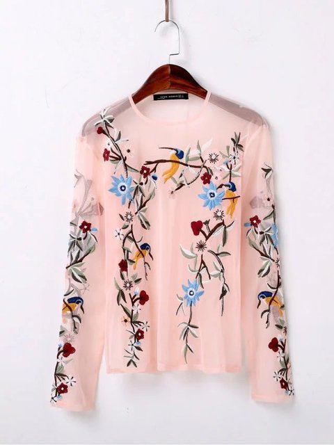 2017 spring and summer fashion wild embroidery flowers perspective sexy wild yarn lace shirt