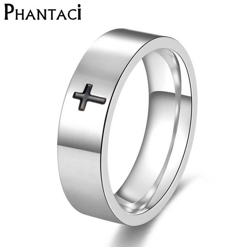 Phantaci não desvanece-se anel de aço inoxidável das mulheres dos homens preto cruz metal moda masculina e feminina legal jóias titânio anel homem
