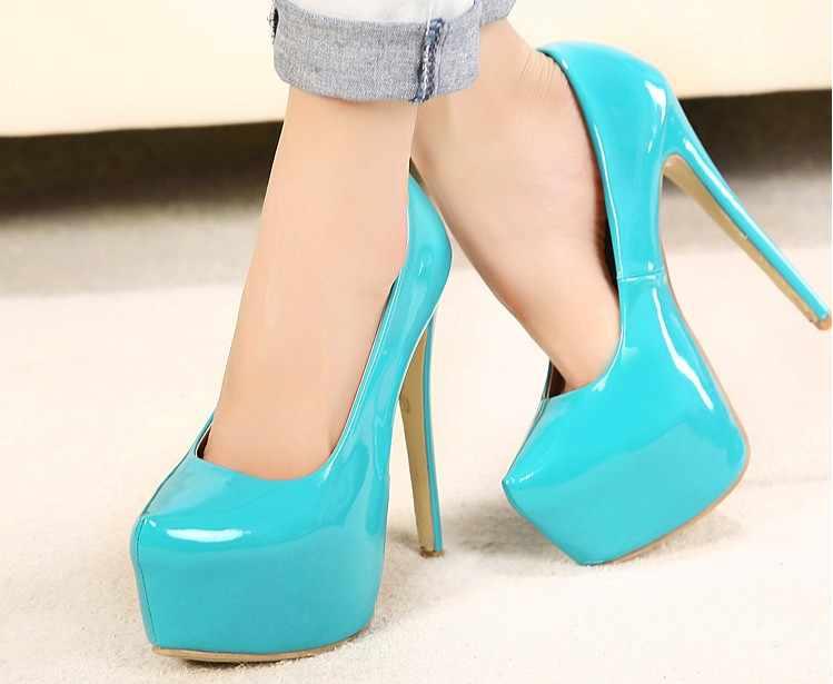 女性ファッションパテントレザーポンプセクシーな超ハイヒールパーティー結婚式のプラットフォームパンプス小剣かかとの女性プラスサイズ35-44靴