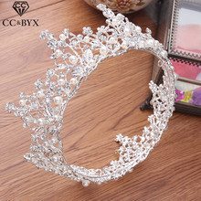 Diademas y Crwons CC, perlas redondas Vintage, accesorios para el cabello de boda para novia, joyería de circón cúbico, regalo XY043