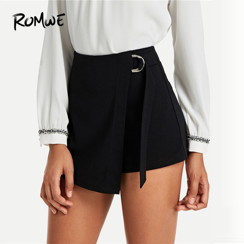 ROMWE Wrap Solid Knot   Shorts   2019 Black Chic Plain Women Summer Streetwear   Shorts   Posh Belted Zipper Fly Mid Waist   Shorts