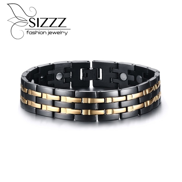Top Quality Health Men Bracelet  Stainless Steel Magnetic Care Jewelry Black & Gold Plated