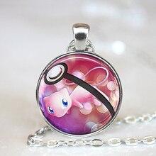 2016 New Fashion Anime Jewelery MEW Pokeball Legendary Pokemon Necklaces 27 MM Round Glass Dome Statement Necklace