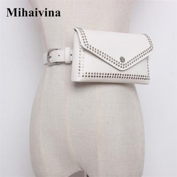 Mihaivina Women Rivet Waist Belt Pack Casual Waist Bag PU Leather Women Bags Travel Belt Wallets Fanny Bags Ladies Fit iphone8/+