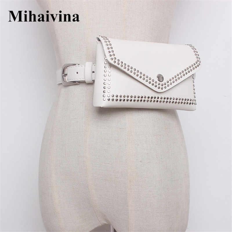Mihaivina Mulheres Rebite Cintura Cinto Pacote de Cintura Casuais Saco PU Mulheres de Couro Sacos de Viagem Carteiras Cinto Fanny Sacos Senhoras Caber iphone8/+