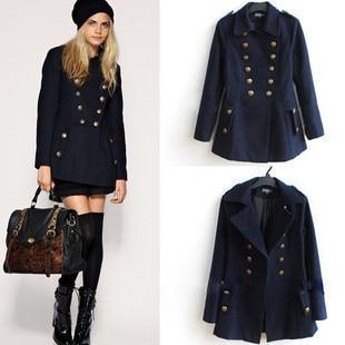 Aliexpress.com : Buy Free Shipping Navy Blue Women Pea Coat Wool