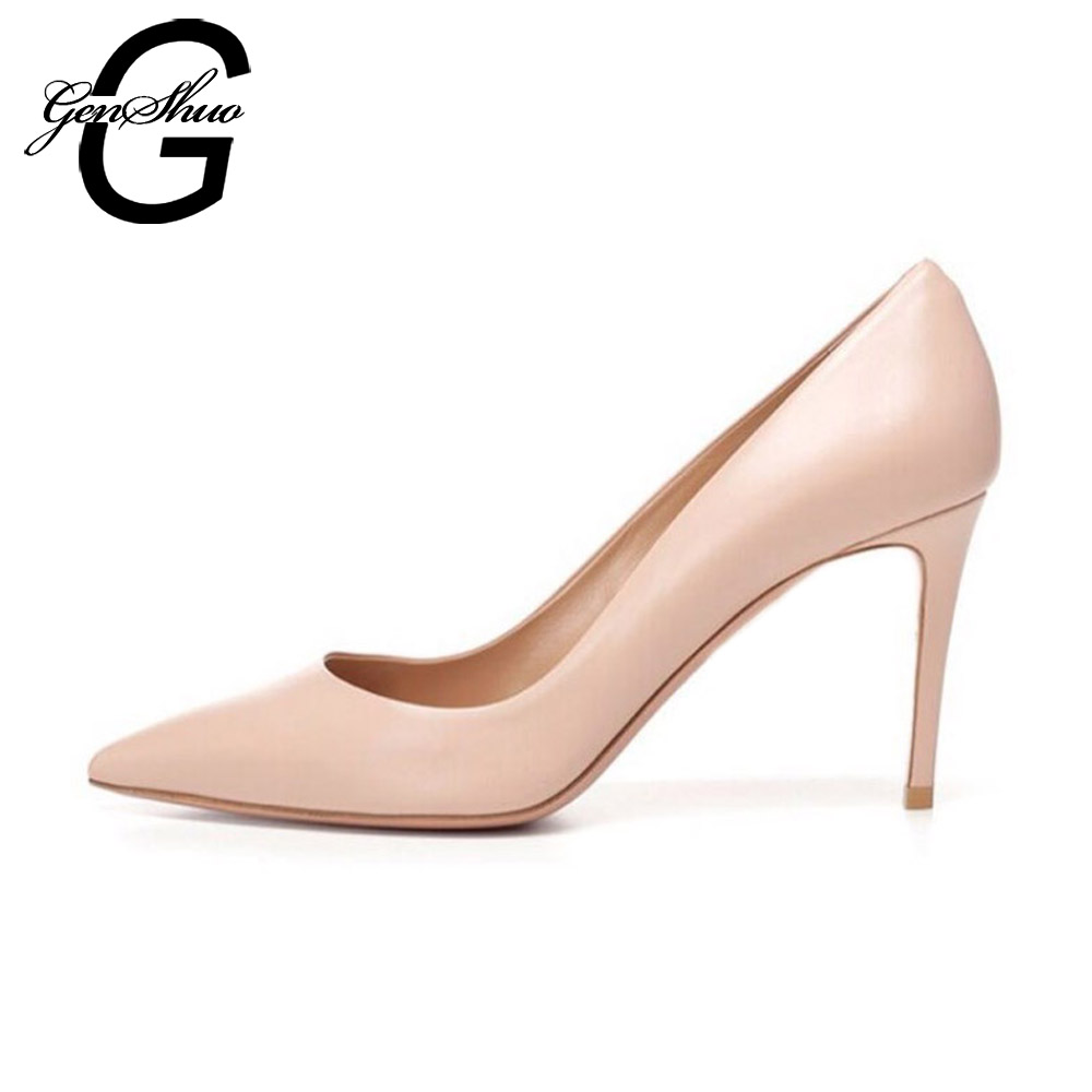 GENSHUO Women High Heels Shoes Pumps 10cm Sexy Pointed Toe Heeled Stiletto Office Ladies Wedding Shoes Brand Nude Black women pumps sexy pointed toe sweet colorful thin high heels woman shoes nude women s high heeled shoes nude fashion office heels