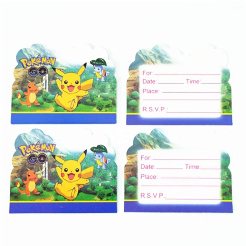 Actief 10 Pcs Cartoon Pokemon Gaan Thema Feestartikelen Happy Birthday Uitnodigingskaart Voor Kids Jongens Gunsten Factory Direct Selling Prijs