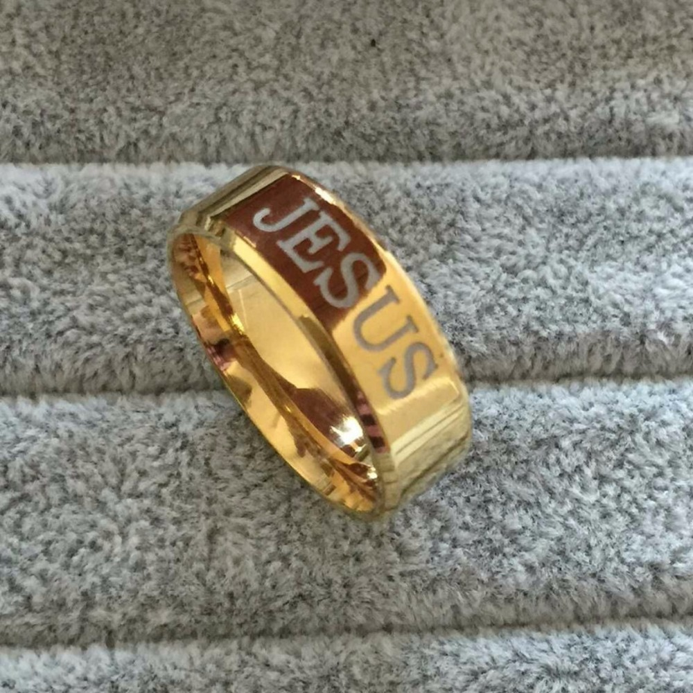 Wholesale 18K Gold Plated 316L Stainless Steel Finger Ring For  man  Woman Jesus Rings Fashion Religious Jewelry