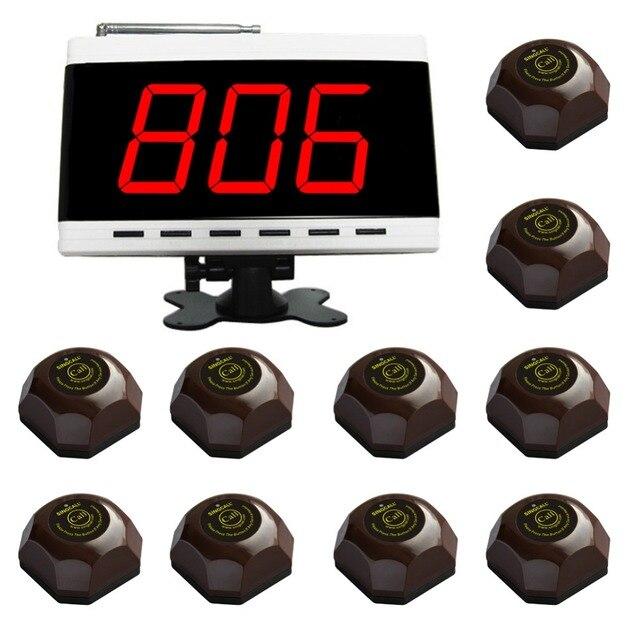 Singcall sistema de llamada sin hilos, tabla Del Sistema de Llamada, para el Hospital. restaurante Pack de 1 Unid Pantalla Blanco y 10 Unids Campanas de Mesa.