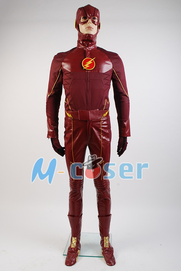 The Flash Cosplay Costume Barry Allen Suit Male The Flash Season 2 Barry Allen Costume Superhero Outfit With Boots Adult Men