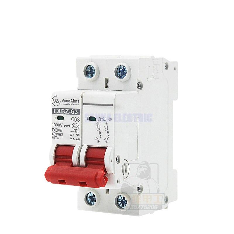 2 p DC 1000 v Solare Mini Circuit Breaker 6A/10A/16A/20A/25A/32A /40A/50A/63A DC MCB