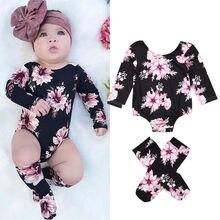 Новинка года; Лидер продаж; комплект из 3 предметов для новорожденных девочек; комбинезон с длинными рукавами и цветочным принтом+ гетры; комплект одежды