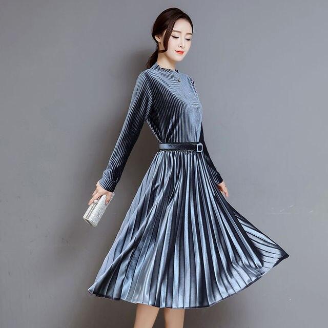 31c3e23d06b7 Fashion Autumn Winter Women Dress Elegant Sexy Pleate Female Dress Vintage  Long Sleeve Velvet Two- .
