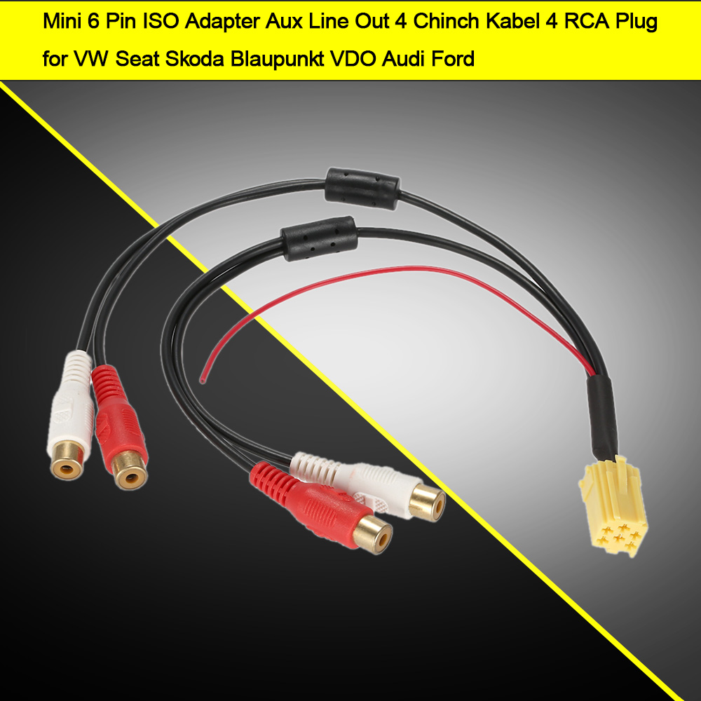 KKmoon Mini 6 Pin ISO Adapter Aux Line Out 4 Chinch Kabel 4 RCA Plug ...