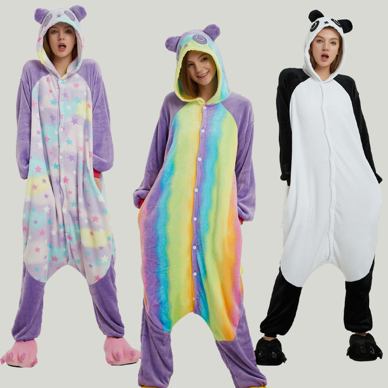 Anime Rainbow Stars Colorful Panda Onesie All In One Cosplay Costumes Warm Pajamas Flannel Warm Sleepwear Winter Party Cotume