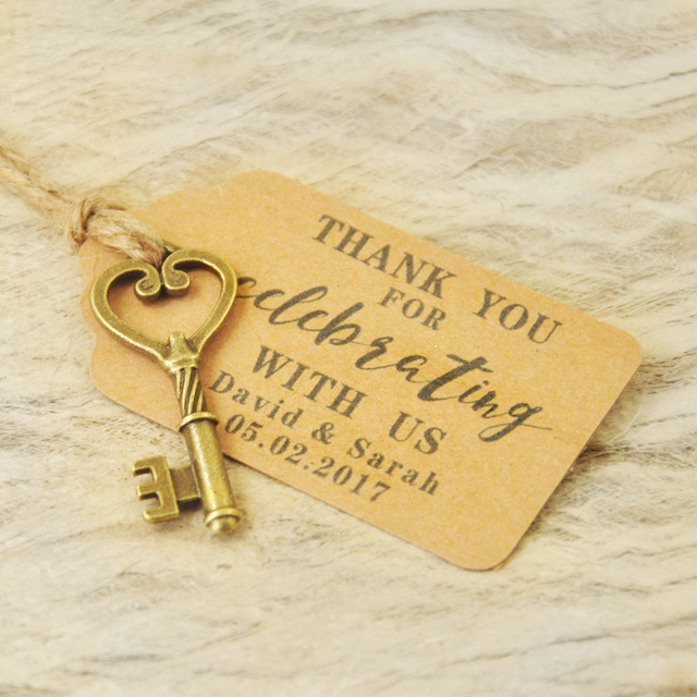 Personalized Favor tags Wedding Tags Antique Key Gift Tags Escort Card Vintage Keys Set of 50 to 100 pieces 4