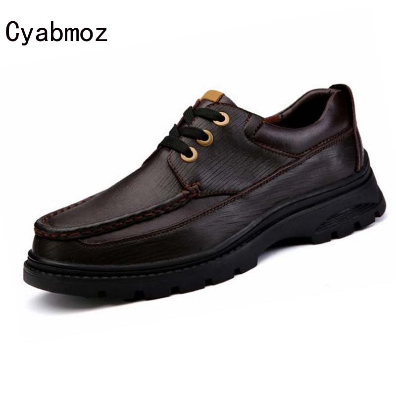 Luxury Fashion Men Shoes Flats High Quality Genuine Leather Thick Sole Lace up  Walking Causal Shoes Male Working Oxfords male casual shoes soft footwear classic men working shoes flats good quality outdoor walking shoes aa20135