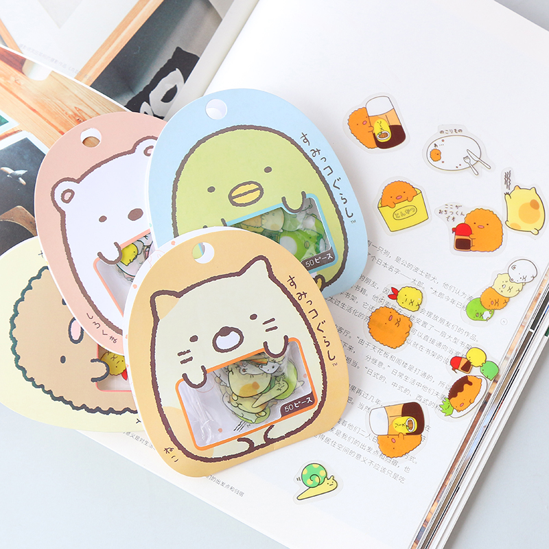 50 Pcs/lot (1bag) Kawaii Stickers DIY Cute Cartoon PVC Stickers Lovely Cat Bear Sticker For Diary Decoration 70 pcs lot diy cute kawaii bear owl pvc decoration stickers cartoon dog cat sticky paper for photo album student 3332