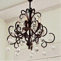K9 Crystal Iron Pendant Lights 5 Heads American Style Living Room Bedroom Hotel Engineering Ball Lighting