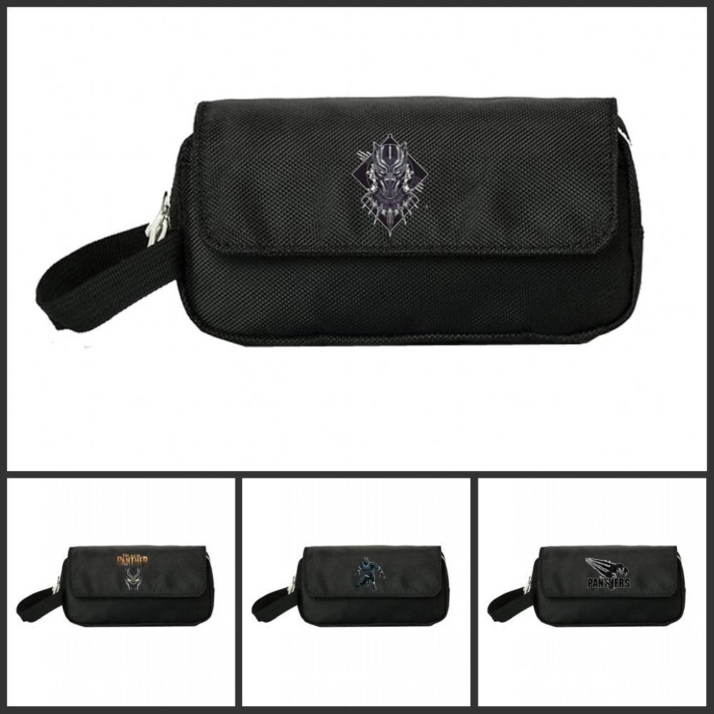Hot Black Panther Pencill Case Cosmetic Cases Makeup Bag Child Girls Student Double Zipper Pecill Bag Handbag Purse