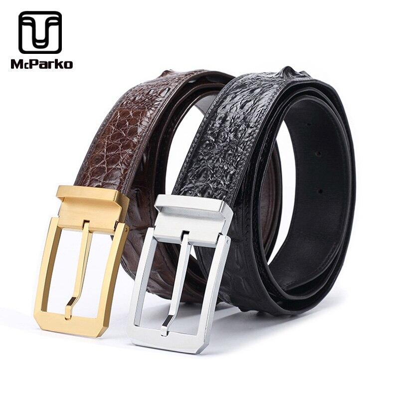McParko hommes ceinture en cuir véritable peau de crocodile hommes ceintures de luxe en acier inoxydable boucle ardillon hommes ceinture pour jeans marron noir