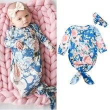 Pudcoco/повседневная одежда для сна для новорожденных девочек от 0 до 6 месяцев пеленки с цветами, спальный мешок, повязка на голову