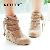 Big Size 35 44 Women Boots Spring Autumn Shoes 2017 New Tassel Ankle Boot Low Heel