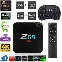 Горячие Z69 Android 7.1 ТВ коробке 2 ГБ + 16 ГБ 3 ГБ + 32 ГБ S905X Декодер каналов кабельного телевидения HD сети 2.4 г Wi-Fi 10/100 м Ethernet 4 К ТВ media player