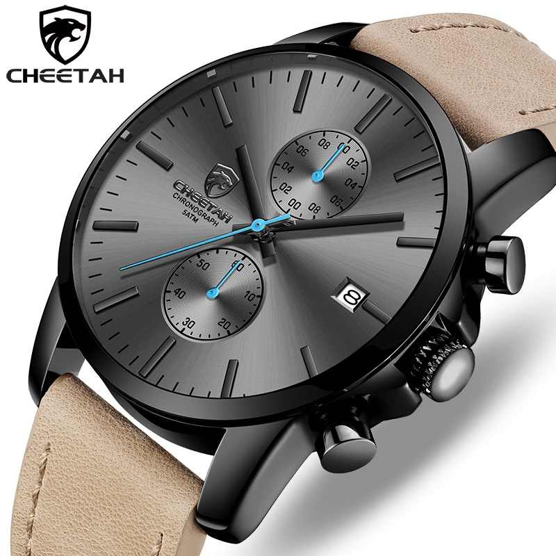 2019 Men Watch CHEETAH Brand Fashion Sports Quartz Watches Mens Leather Waterproof Chronograph Clock Business Relogio Masculino