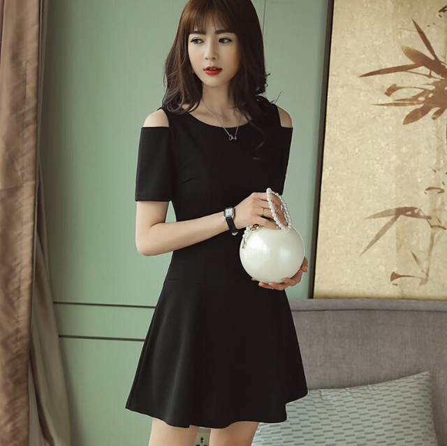 8fd61943d6458 Spring Summer dress women clothing short sleeve bodycon dress Dew shoulder  fashion slim dress Cute black red girl vestidos