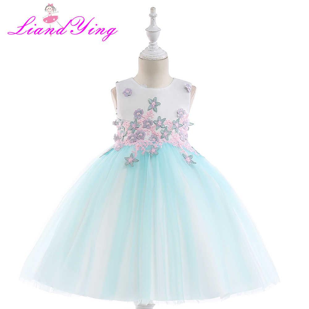 Girls Dress Mesh Flower Embroidery Children Wedding Party Dresses Kids  Evening Ball Gowns Formal Baby Frocks 63630bbdd106