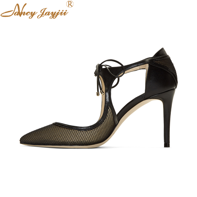 Nancyjayjii Black Mesh Sexy Ladies Gladitor Stilettos Heels Open Toe Shoes Summer Ankle Strap Lace Sandals Woman Party Evening