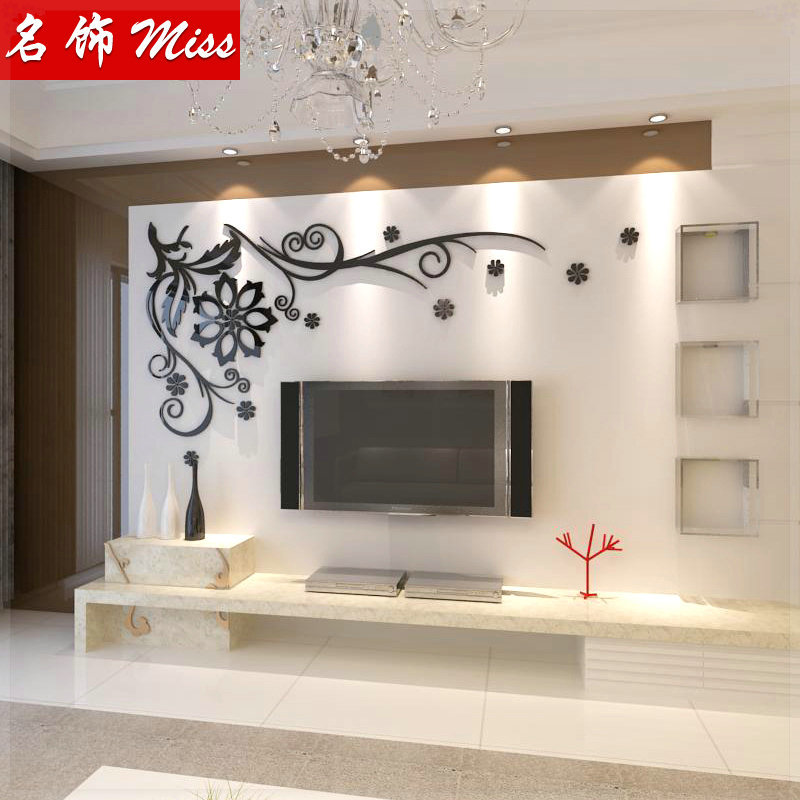 Welbevolkt Kristal drie dimensionale muur stickers fashion tv wall  WN35