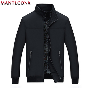 Image 2 - MANTLCONX 2020 New Spring Casual Brand Mens Jackets and Coats Stand Collar Zipper Male Outerwear Men Jacket Black Mens Clothing