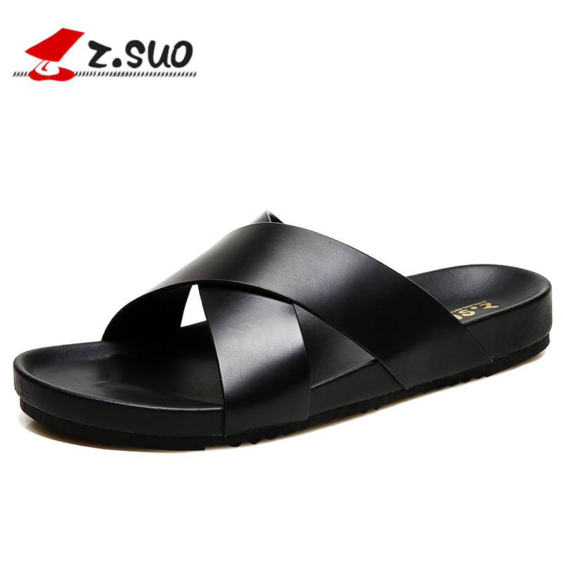 ZSUO Genuine Leather Outdoor Men Slippers 2018 Summer Mens Leather Sandals Beach Shoes Men Flat Shoes Big Size:38-46 2017 summer sandals men slippers genuine leather men sandals desing flat summer shoes handmade plus size 13 mb lun
