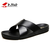 ZSUO Genuine Leather Outdoor Men Slippers 2018 Summer Mens Leather Sandals Beach Shoes Men Flat Shoes Big Size:38 46