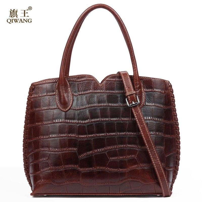 Qiwang Brown Women Bag 100% Genuine Leather Women Crocodile Shell Handbag Vintage Luxury Tote Women Bag Brand Bag qiwang brand women bag genuine leather women shopping tote bag can change shape real leather handbag for women luxury