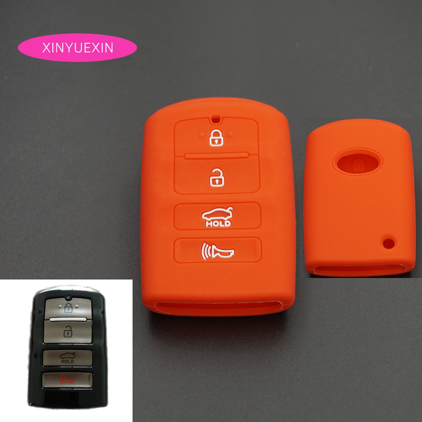Xinyuexin Silicone Rubber Key Cover FOB Case For KIA K9 Cadenza K7 Smart Remote Key Jacket