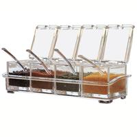 High Quality 4 Pieces Kitchen Seasoning Racks Spice Pots Transparent Boxes Storage Containers Condiment Jars Set with Spoons|Spice & Pepper Shakers| |  -