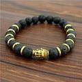 Hot  Maitreya Buddha head beads energy volcano stone bracelet beads  Jewelry For Men Women