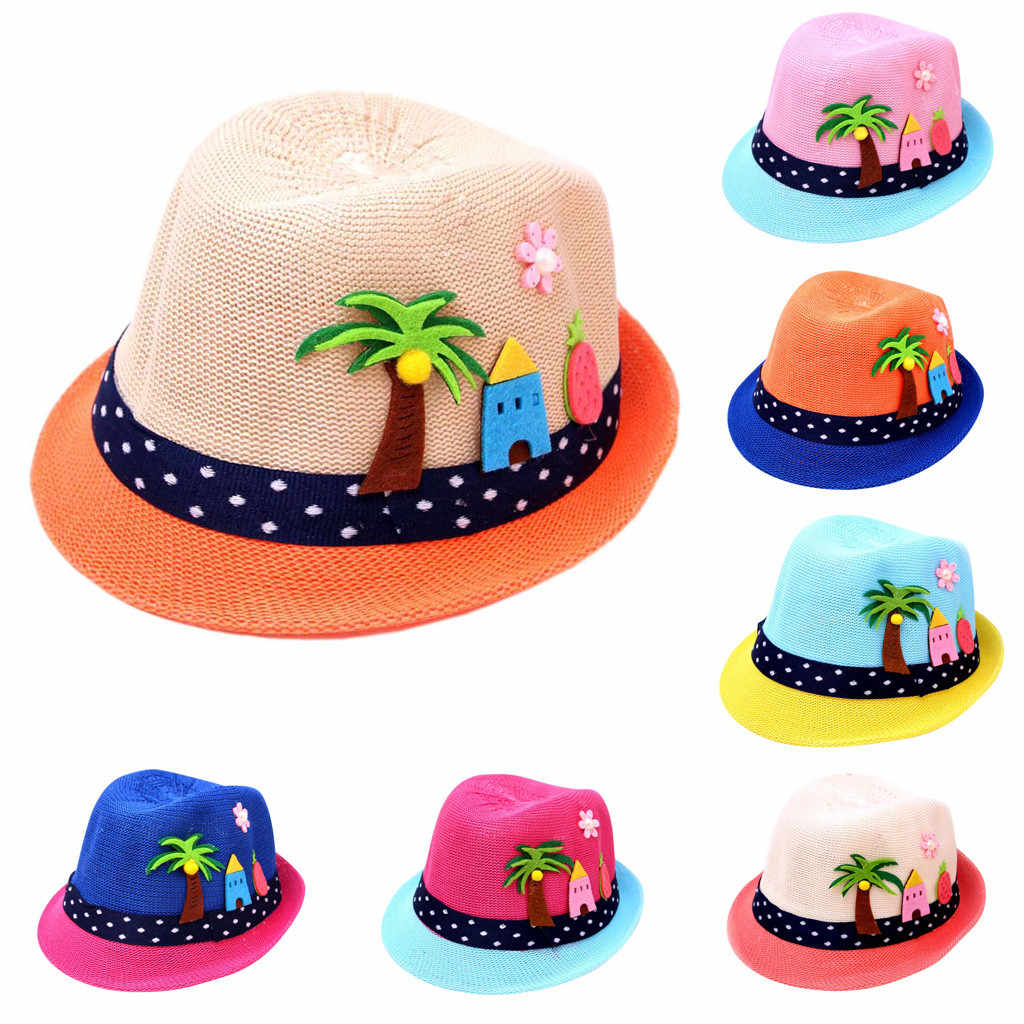 MUQGEW kids hat summer Baby Sunhats cap children Cartoon Breathable Hat Boy Girls Straw Hat Toddler Kids Beach Cap For Children