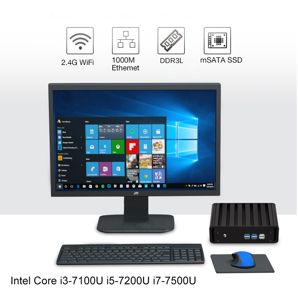 Intel Core i7 7500U i5 7200U i3 7100U Mini PC Windows 10 Mini Computer 8GB RAM 240GB SSD 4K HTPC HDMI VGA WiFi Gigabit LAN