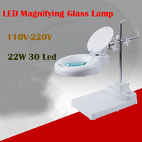 NEW Desktop Magnifier Lamp With Light Electronic Magnifying Glass 220V / 110V 22W (3X/5X/8X 10X 15X 20X 5X_for option)