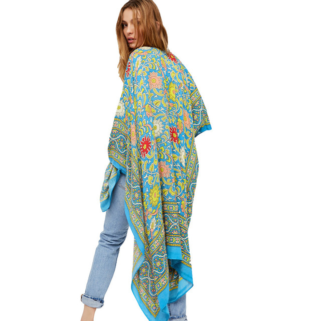 45047002d9 Vintage Women Chiffon Kimono Cardigan Ethnic Boho Print Loose Long  Outerwear Beachwear Beach Cover Up Rose Blue Saida De Praia