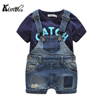 Kimocat Kimocat Baby boy clothes baby born Summer short-sleeved letters t-shirts boy sets Denim suspenders baby clothes