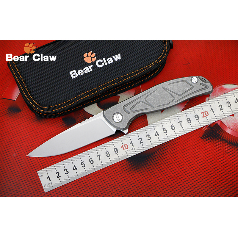 BEAR CLAW F95 BRACKETS D2 blade Titanium handle Flipper folding knife Outdoor camping hunting pocket fruit knives EDC tools