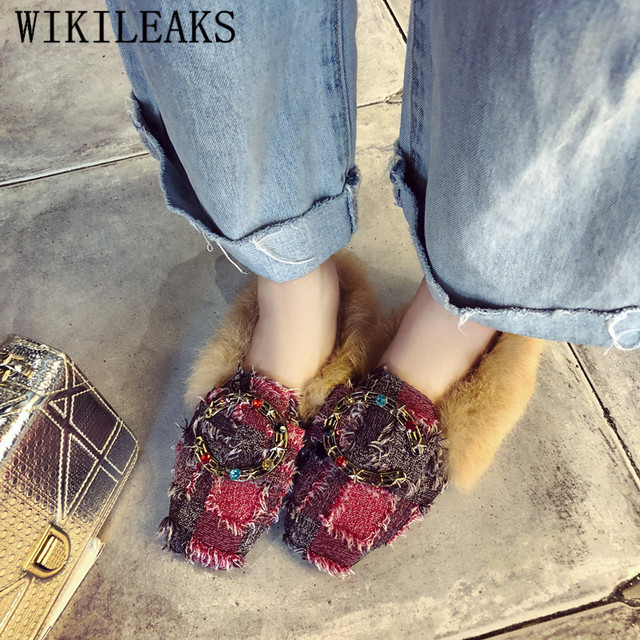 designer shoes women luxury 2018 autumn winter metal buckle flat shoes woman casual crystal slip-on lady loafers fur women flats