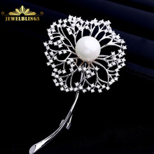 цены на Antique Shell Pearl CZ Dandelion Brooches in Silver Tone Long Stem Sprout Tinny Stone Spherical Shape Taraxacum Flower Broach   в интернет-магазинах